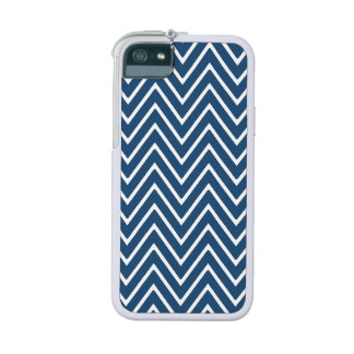 Navy Blue and White Chevron Pattern 2 iPhone 5 Cases