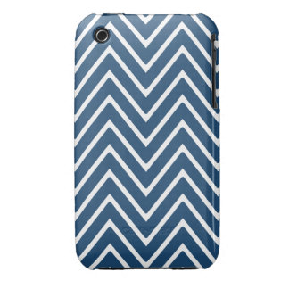 Navy Blue and White Chevron Pattern 2 iPhone 3 Cover