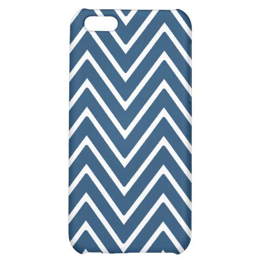 Navy Blue and White Chevron Pattern 2 Case For iPhone 5C