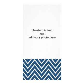 Navy Blue and White Chevron Pattern 2 Personalized Photo Card