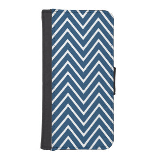 Navy Blue and White Chevron Pattern 2 Phone Wallet