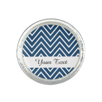 Navy Blue and White Chevron Pattern 2 Photo Ring