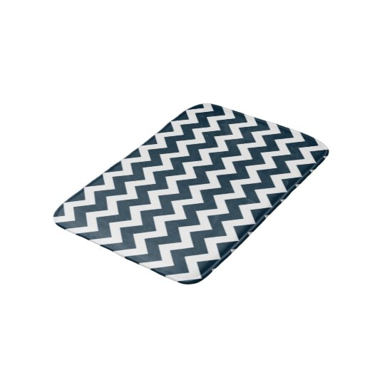 Navy Blue And White Chevron Pattern Bath Mat