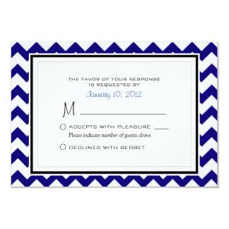 Navy Blue and White Chevron Pattern Wedding RSVP 9 Cm X 13 Cm Invitation Card