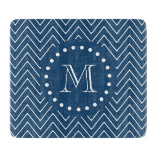 Navy Blue and White Chevron Pattern, Your Monogram Cutting Board