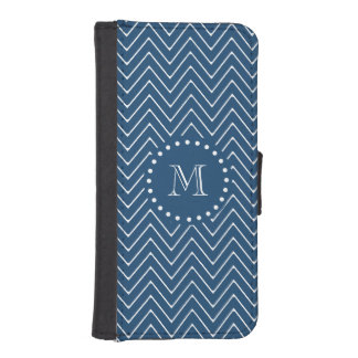 Navy Blue and White Chevron Pattern, Your Monogram iPhone SE/5/5s Wallet Case