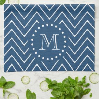 Navy Blue and White Chevron Pattern, Your Monogram Tea Towel