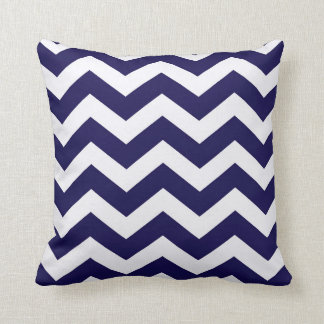 Navy Blue And White Chevron Stripes Cushion