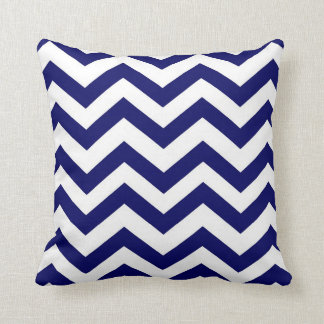 Navy Blue and White Chevron Throw Pillow