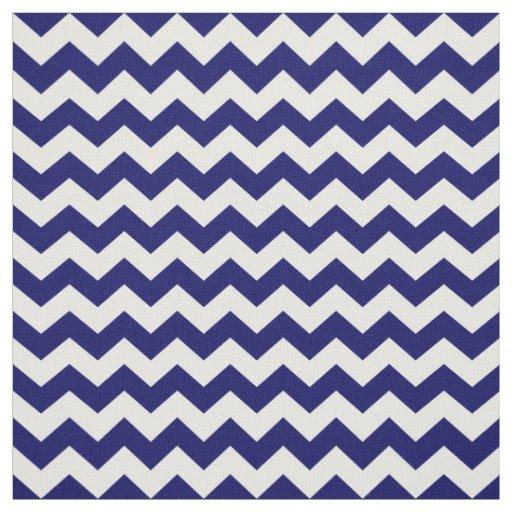 Navy Blue and White Chevron Zigzag Pattern Fabric