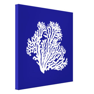Navy Blue And White Coastal Decor Coral