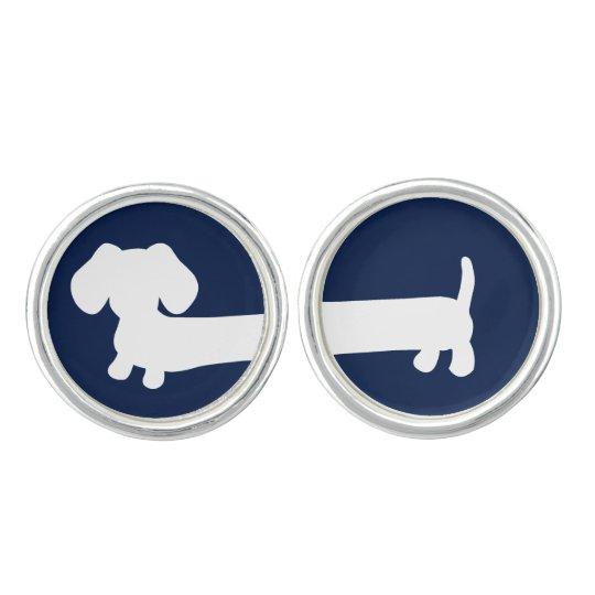 Navy blue and white Dachshund doxie cufflinks