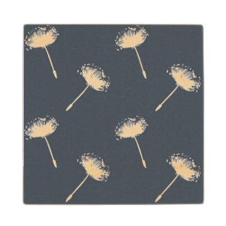Navy Blue and White Dandelion Flowers Maple Wood Coaster