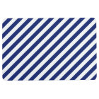 Navy Blue and White Diagonal Stripes Pattern Floor Mat