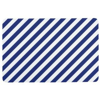 Navy Blue and White Diagonal Stripes Pattern Floor Mat