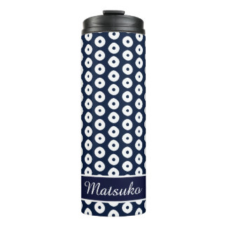 Navy Blue And White Dots Pattern Thermal Tumbler