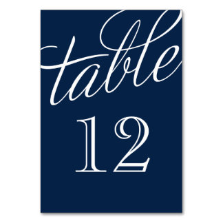 Navy Blue and White Elegant Script Table Numbers Table Card