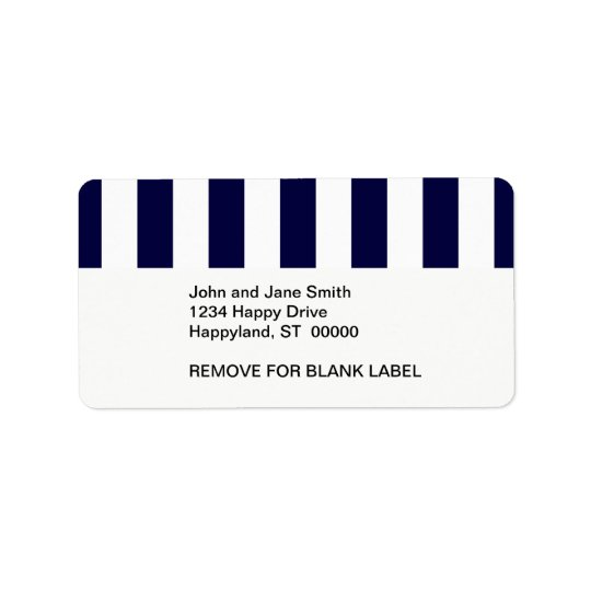 Navy Blue and White Extra Large Stripe Pattern Address Label