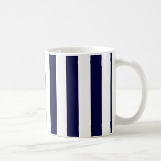 Navy Blue and White Extra Large Stripe Pattern Basic White Mug