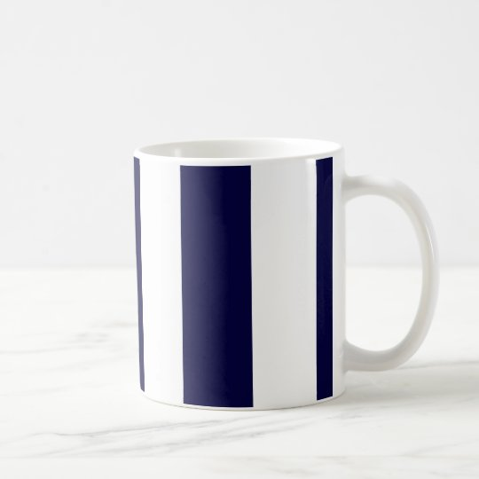 Navy Blue and White Extra Large Stripe Pattern Coffee Mug ...