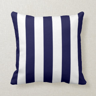 Navy Blue and White Extra Large Stripe Pattern Cushion