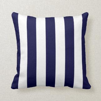 Navy Blue and White Extra Large Stripe Pattern Cushion