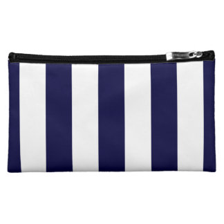 Navy Blue and White Extra Large Stripe Pattern Makeup Bag