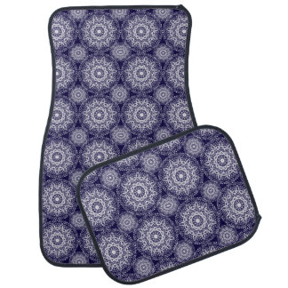 Navy Blue And White Floral Damask Patterned Car Mat