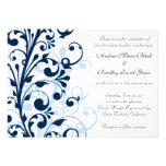 Navy Blue and White Floral Wedding Invitation