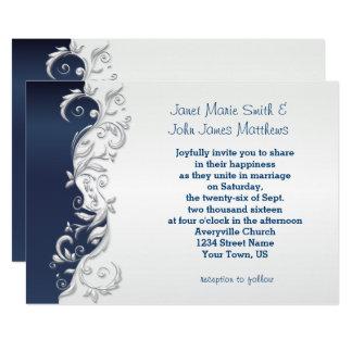 Navy Blue and White  Florid Wedding Invitation