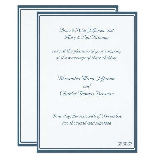 Navy Blue and White Framed Wedding Invitation | Zazzle.co.uk