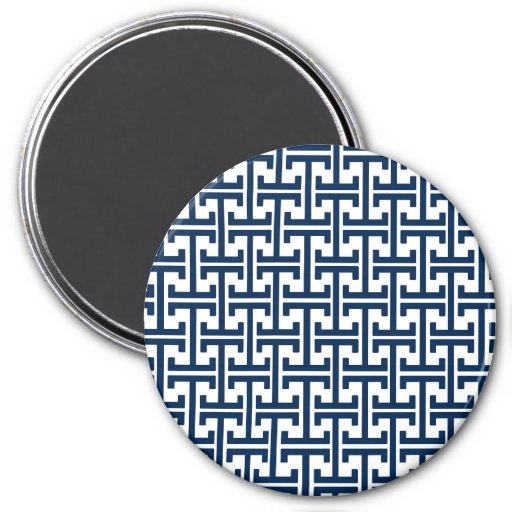 Navy Blue and White Geometric Retro Pattern Refrigerator Magnets