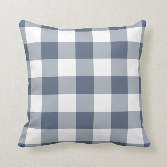 Navy Blue and White Gingham Pattern Cushion