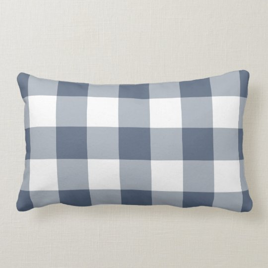 Navy Blue and White Gingham Pattern Lumbar Cushion