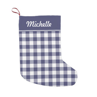 Navy Blue and White Gingham Personalized
