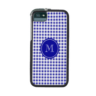 Navy Blue and White Gingham, Your Monogram iPhone 5/5S Cases