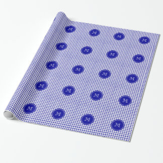 Navy Blue and White Gingham, Your Monogram Wrapping Paper