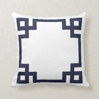 Navy Blue and White Greek Key Border Cushion