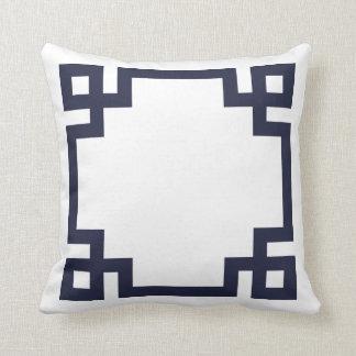 Navy Blue and White Greek Key Border Cushion