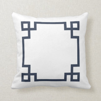 Navy Blue and White Greek Key Cushion
