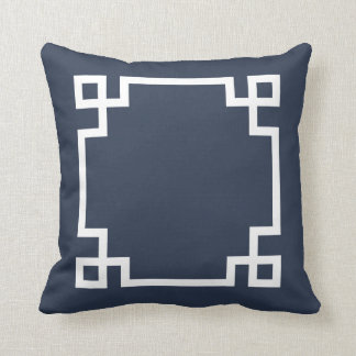 Navy Blue and White Greek Key Throw Pillow