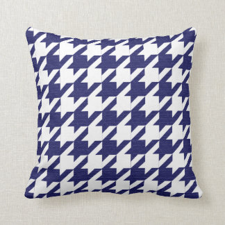 Navy Blue and White Houndstooth Pattern Cushion
