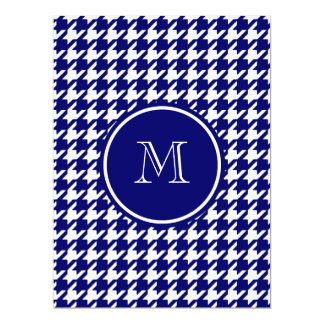 "Navy Blue and White Houndstooth Your Monogram 6.5"" X 8.75"" Invitation Card"