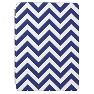 Navy Blue and White Large Chevron ZigZag Pattern iPad Air Cover