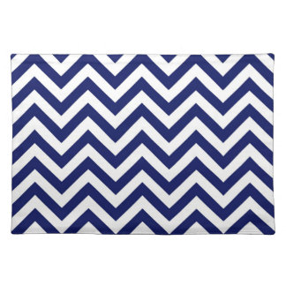 Navy Blue and White Large Chevron ZigZag Pattern Placemats