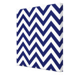 Navy Blue and White Large Chevron ZigZag Pattern Stretched Canvas Print