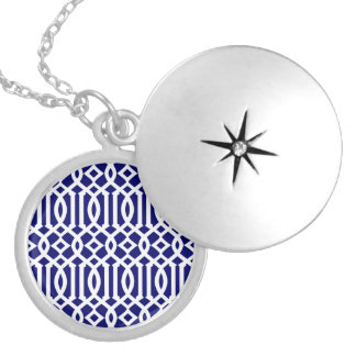 Navy Blue and White Modern Trellis Pattern Locket Necklace