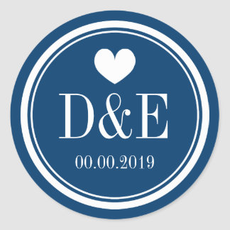 Navy blue and white monogram wedding favor sticker