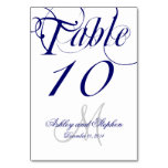 Navy Blue and White Monogram Wedding Table Cards