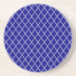 Navy Blue And White Moroccan Trellis Pattern Drink Coasters